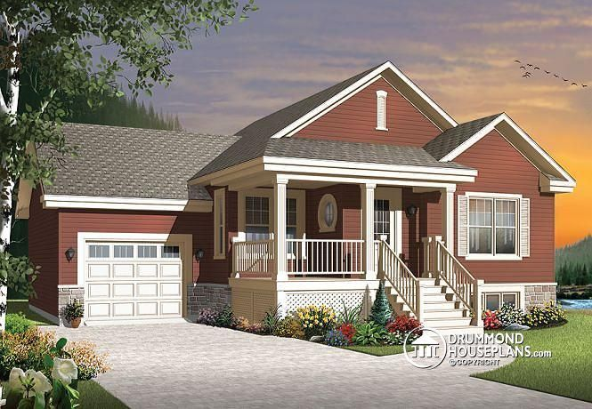 W3126 V1 Small and affordable Bungalow house plan open floor