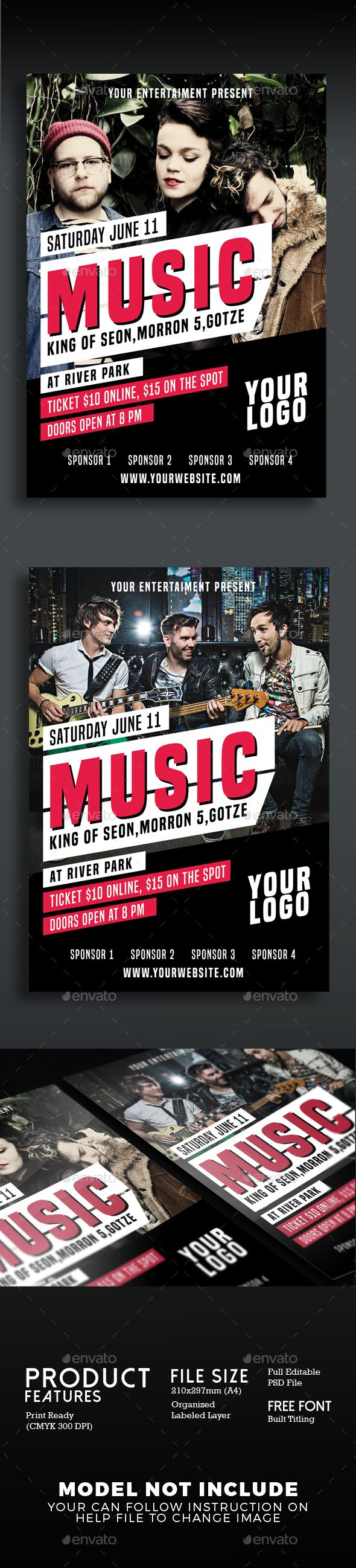 Music Concert Flyer  Concert Flyer Flyer Template And Template