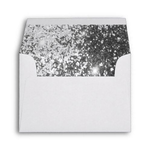 White Envelope Lined with Silver Faux Glitter