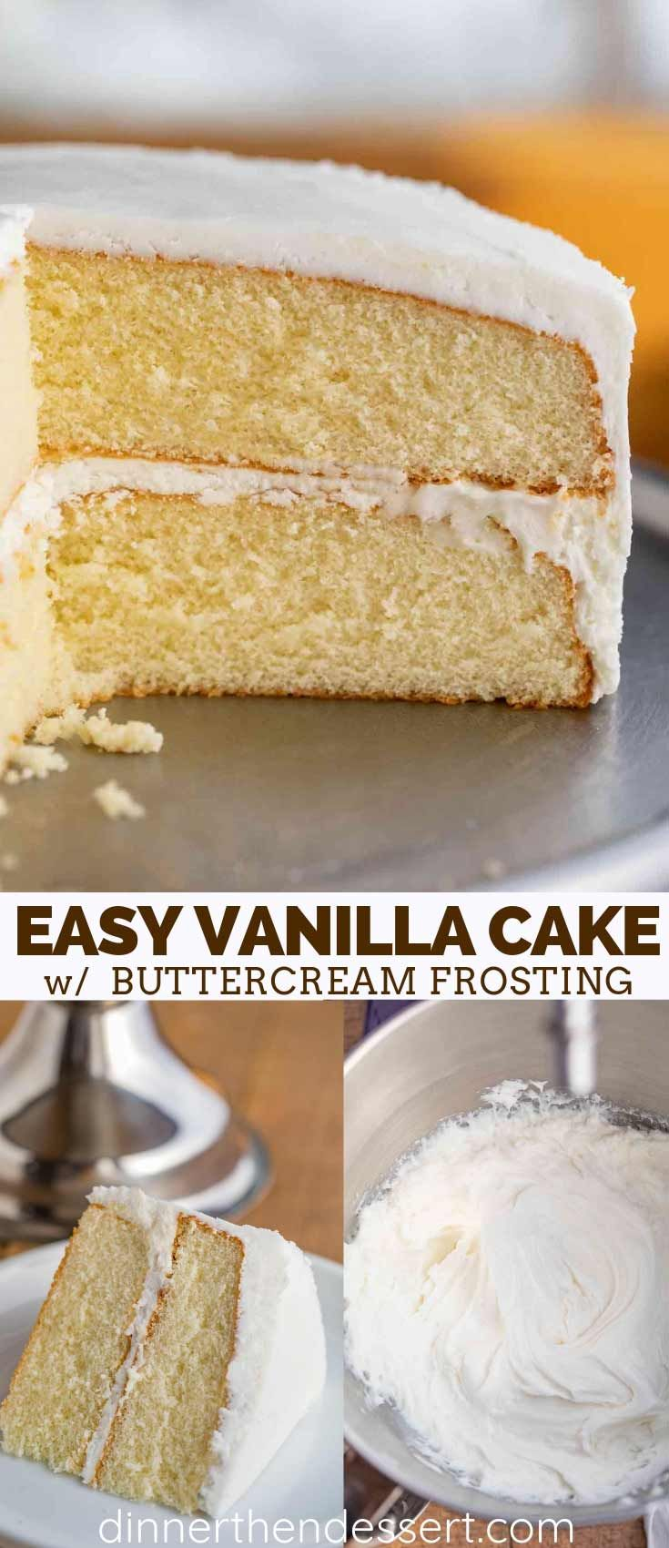 Vanilla Cake is a CLASSIC cake recipe made with vanilla extract and topped with buttercream frosting, ready in under 60 minutes!