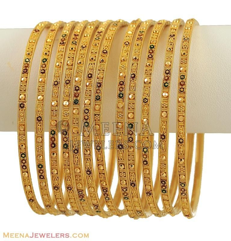 Indian Gold Bangles Set (12 Pcs) ( Set of Bangles ) | Jewellery ...