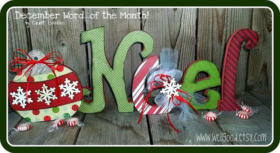 A fun and merry addition to your holiday decor! This letter set is self standing cut from 3/4 in MDF.    Set includes the letters n, o, e, l, main