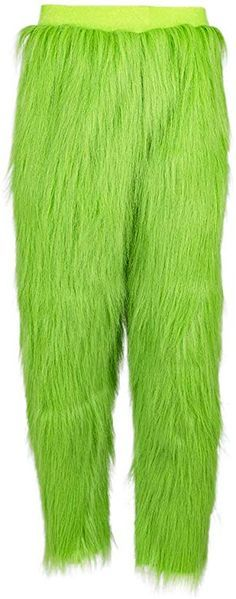 PONGONE Green Pants Green Bottoms with Fur Long Trousers Warm Fuzzy Pajama Sleep Pants