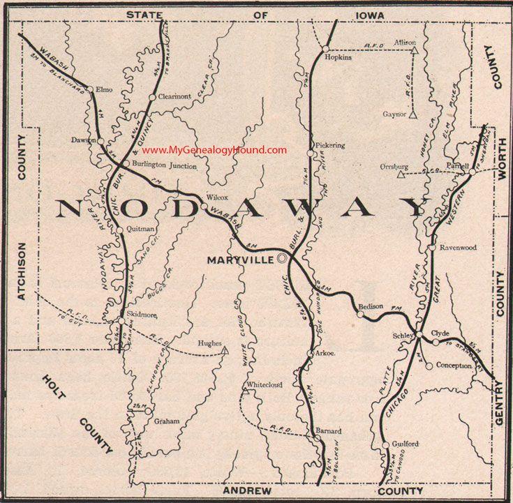 Nodaway County Missouri 1904 Map Missouri Maryville Missouri