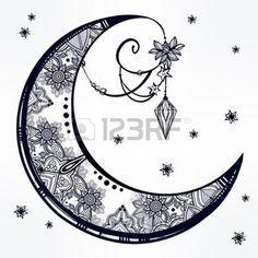 Tatouage Lune Main Complexe Dessine Croissant De Lune Ornee De