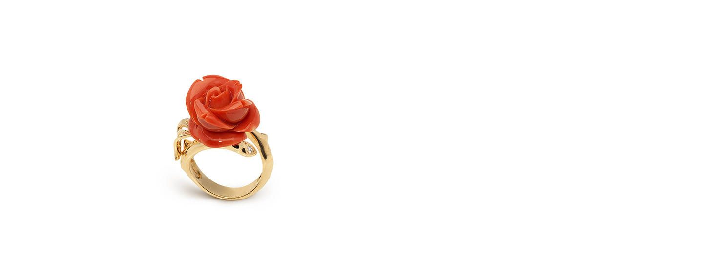 4cd2dd4aee Rose Dior Pré Catelan ring, small model, in 18k yellow gold and red ...