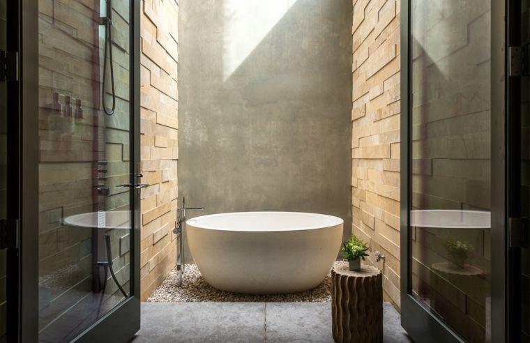 Piastrelle bagno moderni parete con mattoni pavimento rivestito
