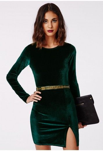 63a25e181d19 Get into the party spirit with our lush dark green velvet bodycon mini  dress. The long sleeves mean there s no need for a coat to drag around on  your night ...