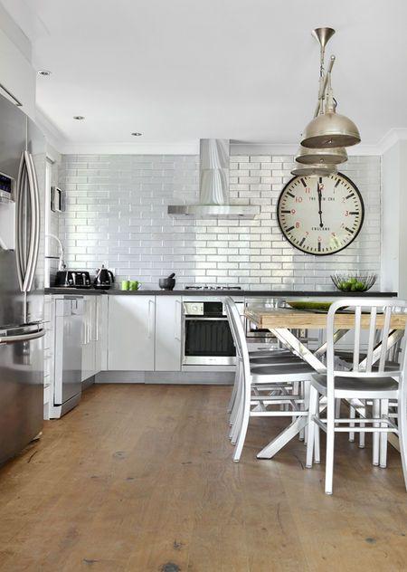 Pressed Metal Subway Tile Backsplash Brushed Metal Chairs Oversized  Industrial Clock Industrial Pendants Perfect Kitchen