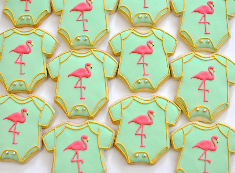 Flamingo Baby Onesie Cookie By Kelley Hart Custom Cookies