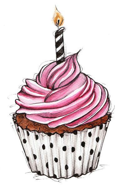 Cupcake Vielleicht Für Geburtstagskarte Oder So Diy Aquarell