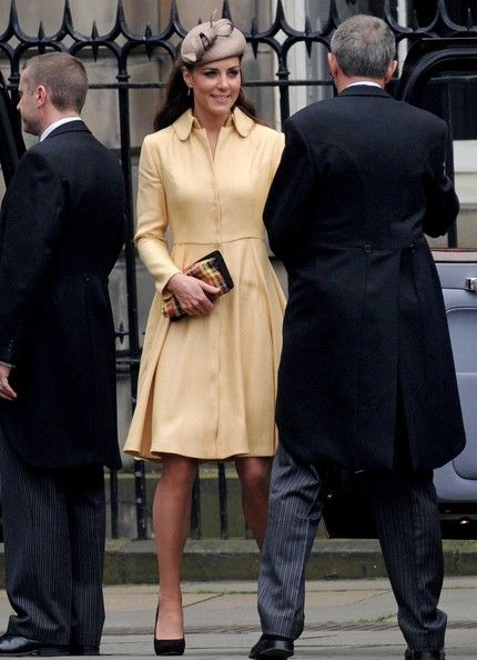 Catherine, The Duchess of Cambridge, leave St Giles Cathedral in Edinburgh after the installation of the Duke of Cambridge as a Knight of the Thistle