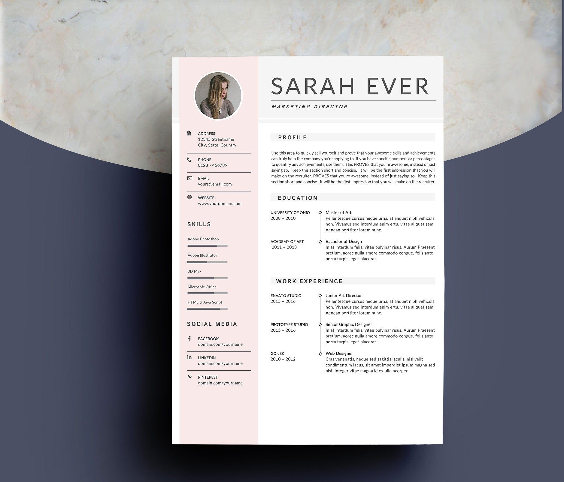 Resume Template 4 pages iLook organizeimportant