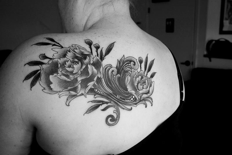 Love My Black And Grey Peony Baroque Filigree Coverup Tattoo By Jeff Norton At Aesthetic Ink In Atascadero Tattoos Tattoo Designs Daffodil Tattoo