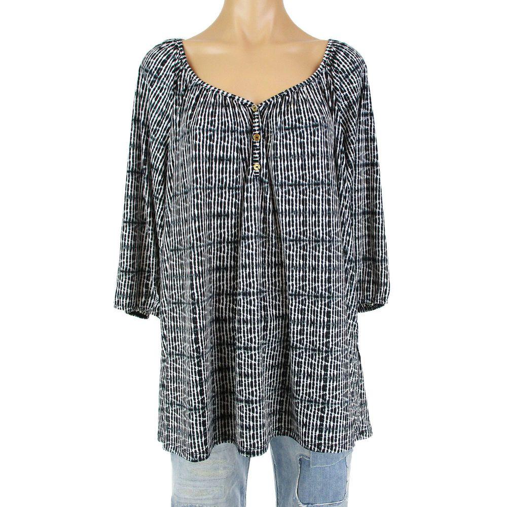 a2996c75e617c0 Lapis Womens 2X Tunic Top Shirt Plus Size XXL Black Bohemian Print 3/4  Sleeve #Lapis #Blouse #Casual