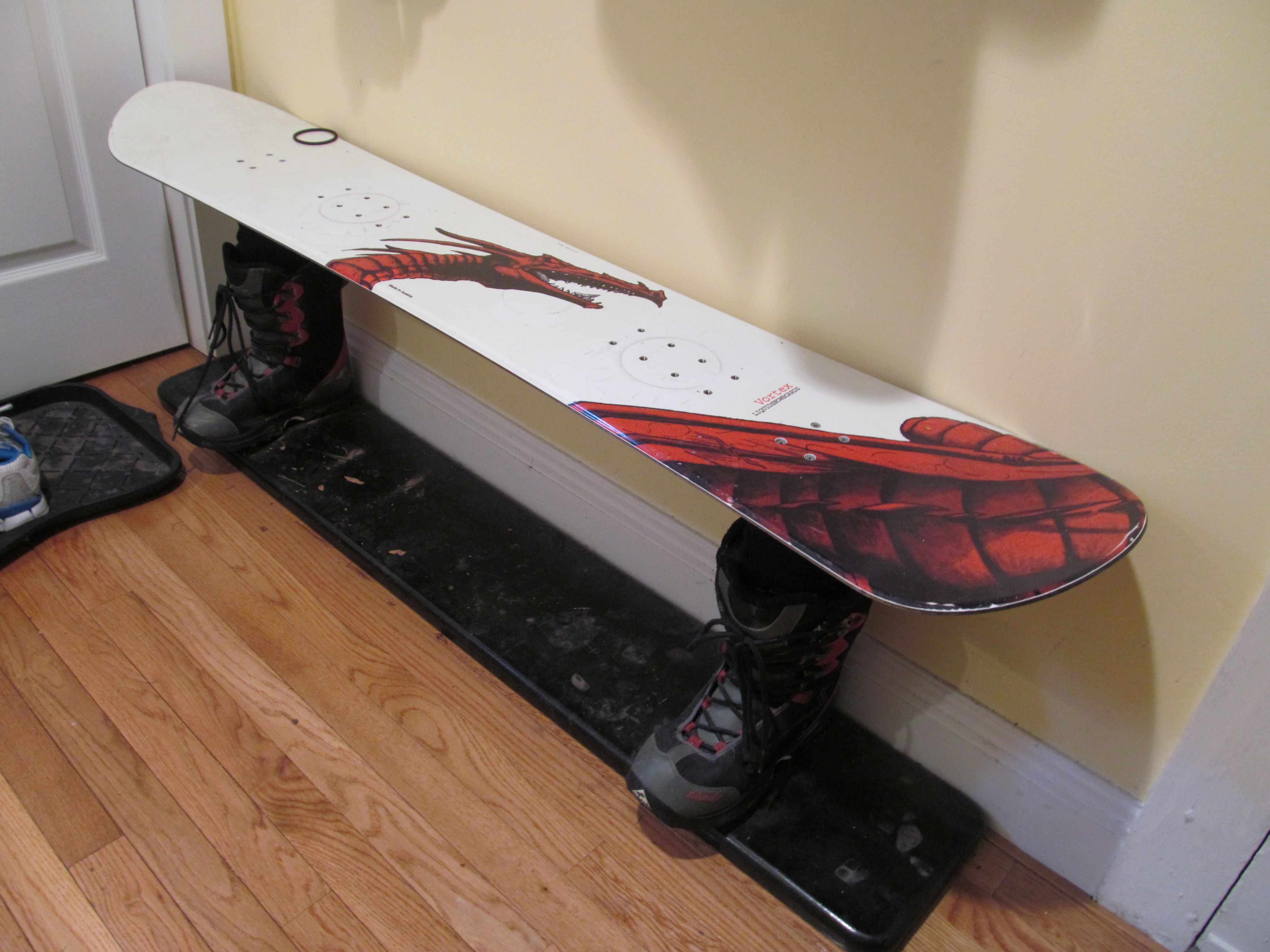 snowboard bench made by my dad...he screwed two pieces of wood to ...
