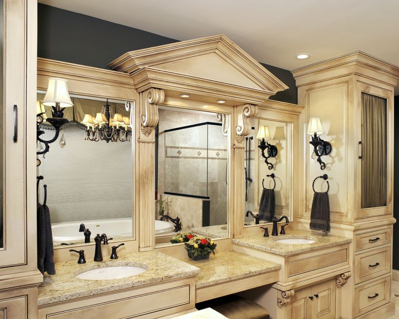 Each Bathroom Vanity Features A Marble Countertop Oversized
