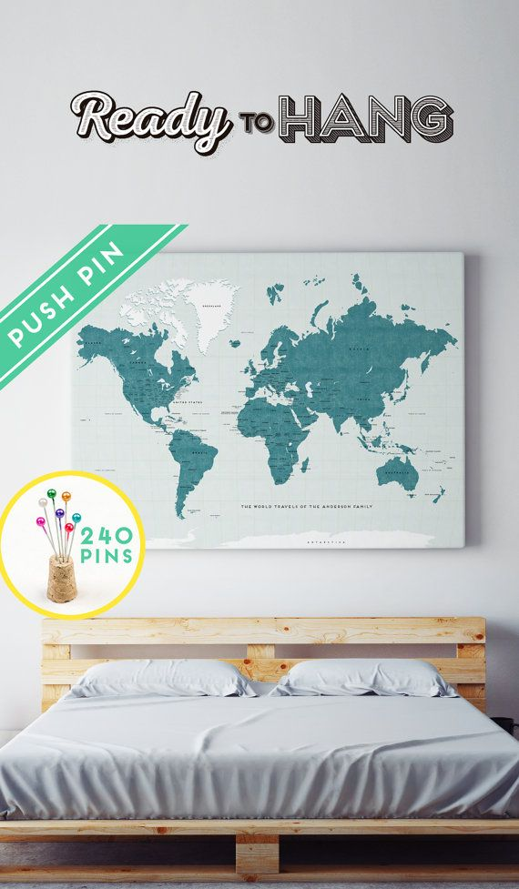 Personalized Large World Map Canvas Lucite Color Countries