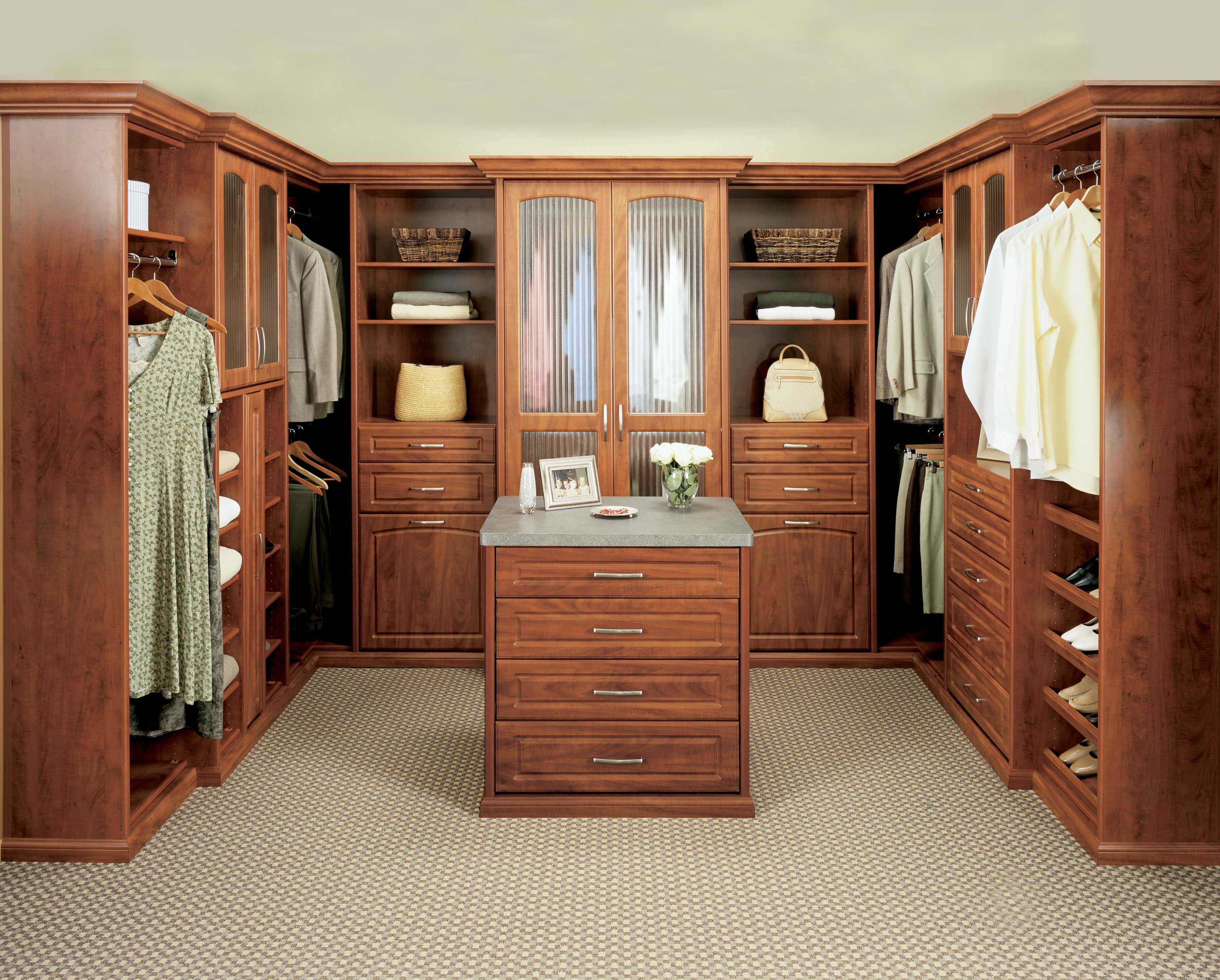 Regency Collection Walk In Closet In A Melamine Finish Deco Doors With Fluted Glass Deco Drawers Wood Closet Organizers Ikea Closet Organizer Closet Designs