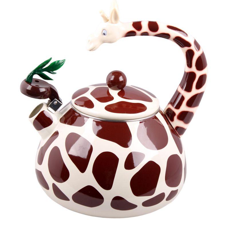 Best Enamel Giraffe Kettle 2 8l Porcelain Enamel Teapot Kettle Whistle Kettle Enamelware Drop Shipping 78 00 Tea Pots Teapots Unique Enamel Teapot