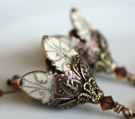 Flower earrings dangle ivory crystal romantic gift for by AmberSky, $46.50
