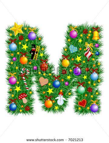 Letter M Christmas Tree Decoration Alphabet Christmas Lettering Christmas Alphabet Christmas Fonts