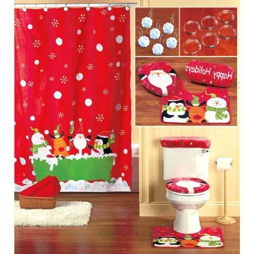 christmas shower curtain set decor