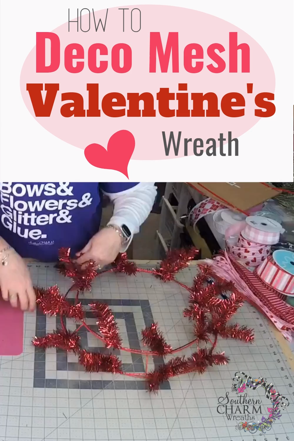 How to Make a Deco Mesh Valentine's Day Wreath