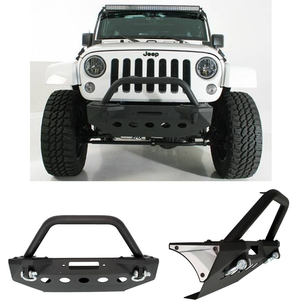 Rock Crawler Stubby Front Bumper+Bull Bar+Winch Plate for 07-18 Jeep