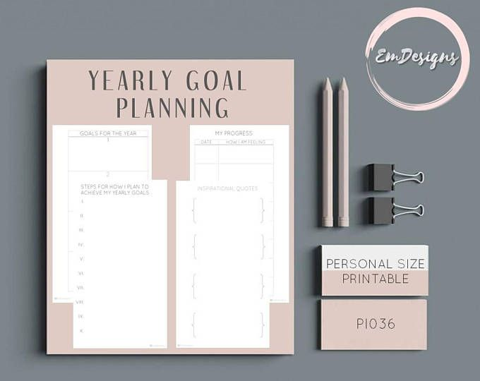 printable yearly goals planner insert in personal planner size digital download filofax kikki k printable planner 2018 goal planning scheduled v