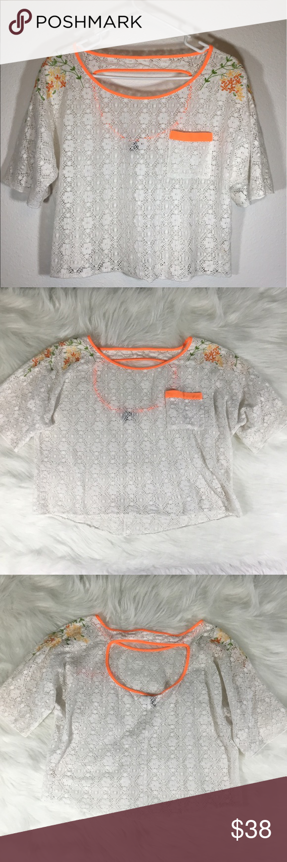 Free People Medium White Lace Top With Flowers