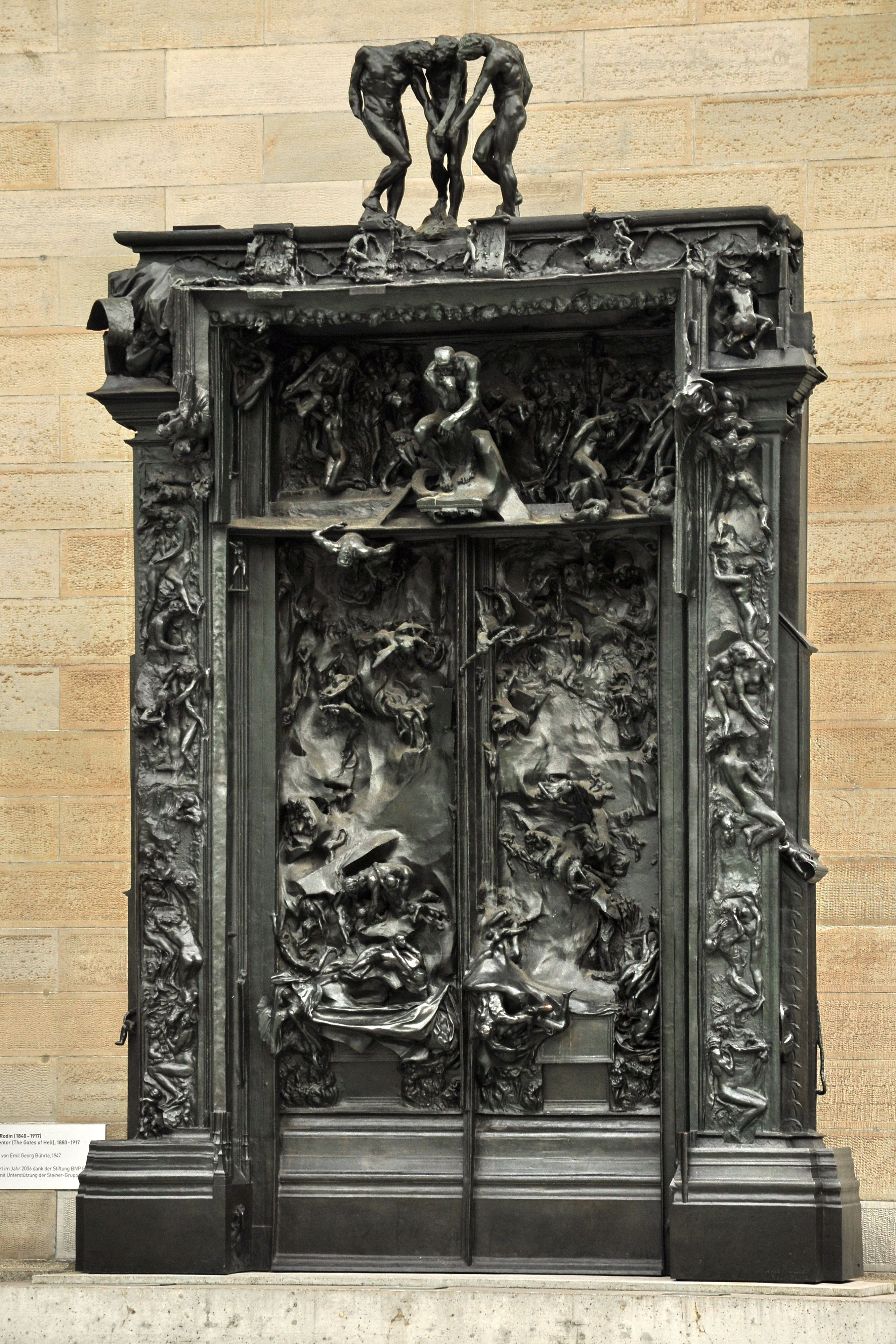 """The Gates of Hell (French: La Porte de l'Enfer) is a monumental sculptural group work by French artist Auguste Rodin that depicts a scene from """"The Inferno"""", the first section of Dante Alighieri's Divine Comedy."""