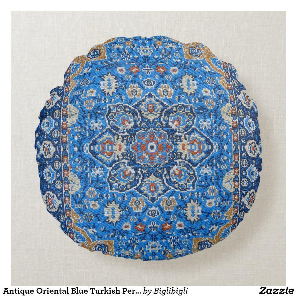 Antique Oriental Blue Turkish Persian Carpet Rug Round Pillow
