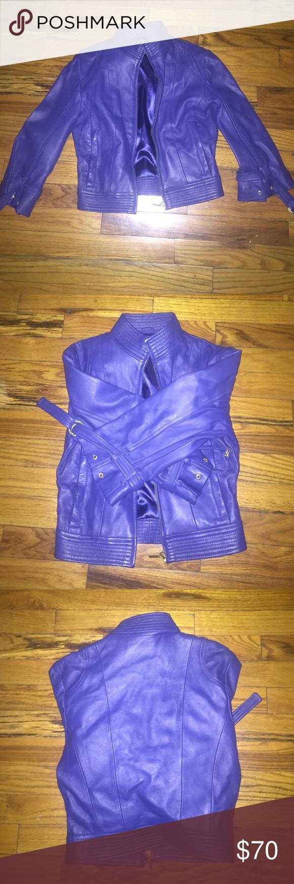 Leather jacket Beautiful royal leather great condition quarter sleeve bebe Jackets & Coats
