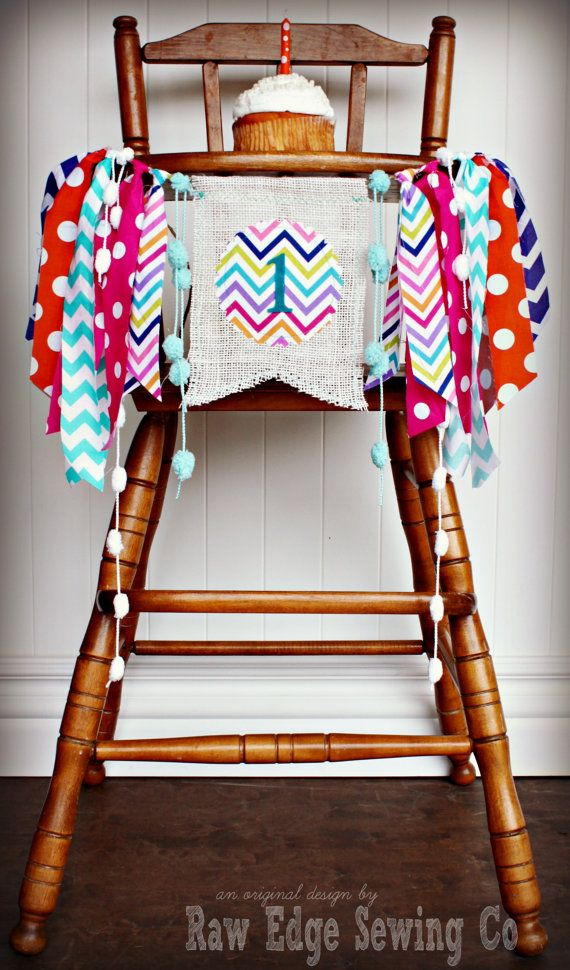 CANDYLAND Inspired Birthday Age High Chair by RawEdgeSewingCo