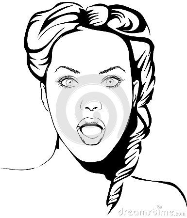 Vector Line Drawing Of A Fictive Surprised Woman Pop Art Style Pop Art Art Style Face Sketch