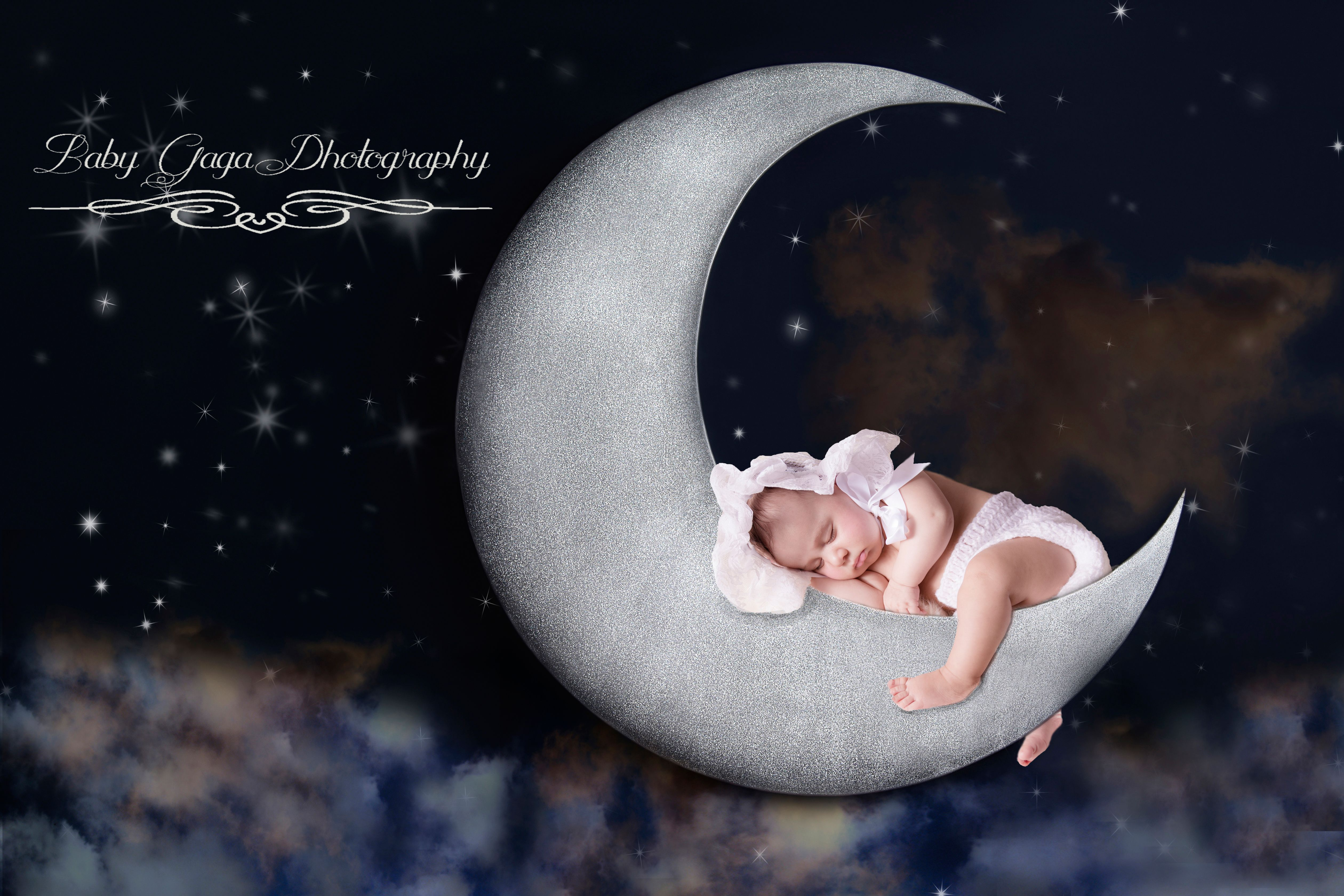 Let Baby Gaga Photography provide you with the cutest portrait of your baby sleeping on the moon.  Call today 551-206-2869.