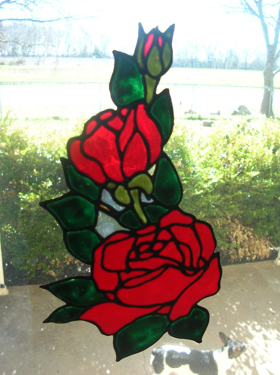 Rose And Bud 4 Corner Stained Glass Window Clings 2100 Via Etsy