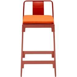 Photo of Driade Mingx outdoor bar stool with backrest H 68cm bronze DriadeDriade