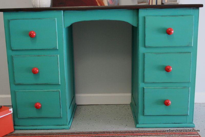 Turquoise Desk Refresh Restyle Turquoise Desk Desk Makeover Furniture Makeover