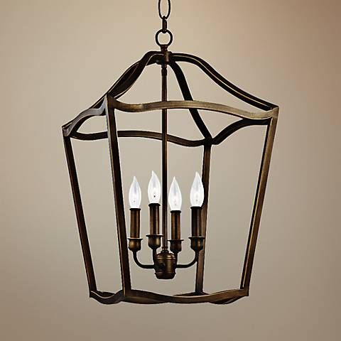 Feiss Yarmouth 14 3 4 W 5 Light Aged Brass Foyer Pendant 8h785