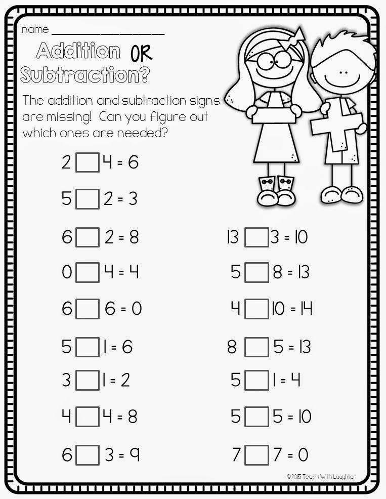Teach With Laughter Add Or Subtract 1st Grade Math Math Addition Subtraction Worksheets Adding and subtracting worksheets grade