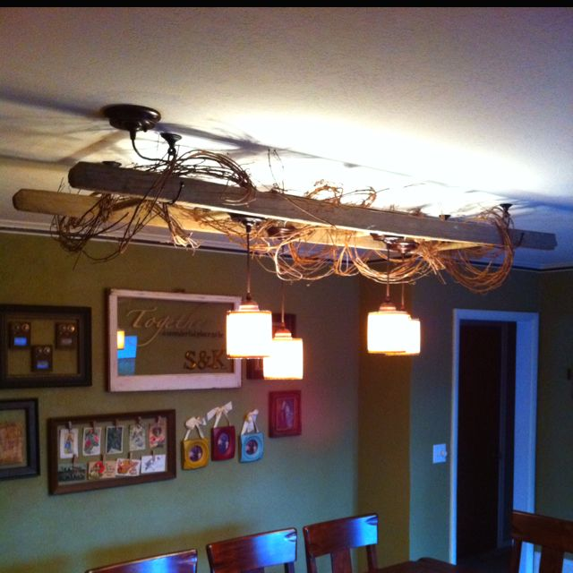 Hung An Old Ladder Above Our Dining Room Table. Hung