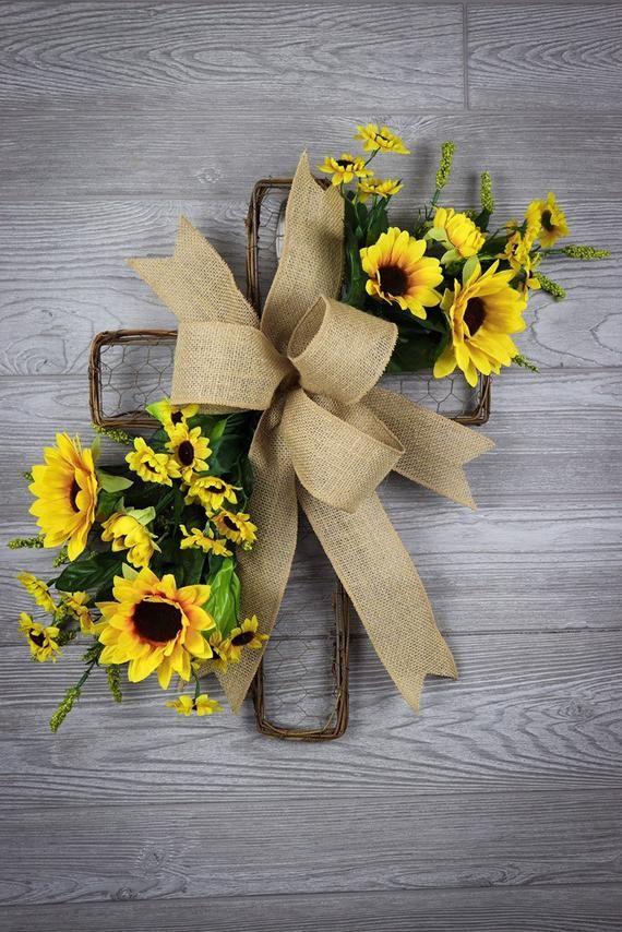 Photo of Cross wreath, Spring Cross, Floral Cross, Cross Door Hanger, Front Door Wreath,Sunflowers Wreath, Mother's Day