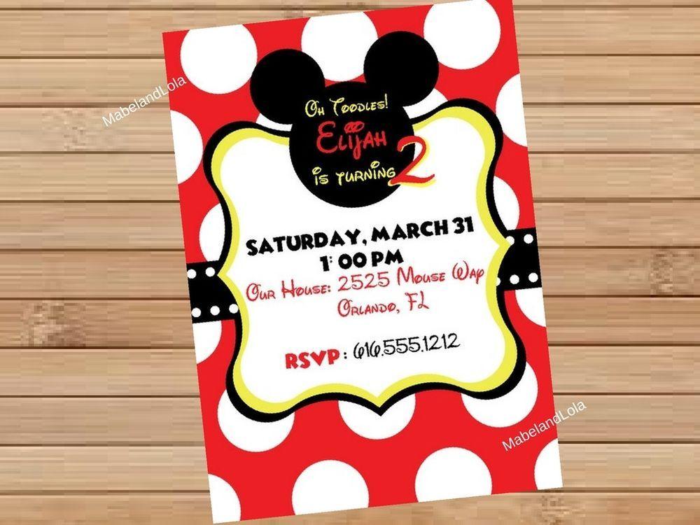 Mickey Minnie Mouse Custom Birthday Party Invitation Digital Invite ...
