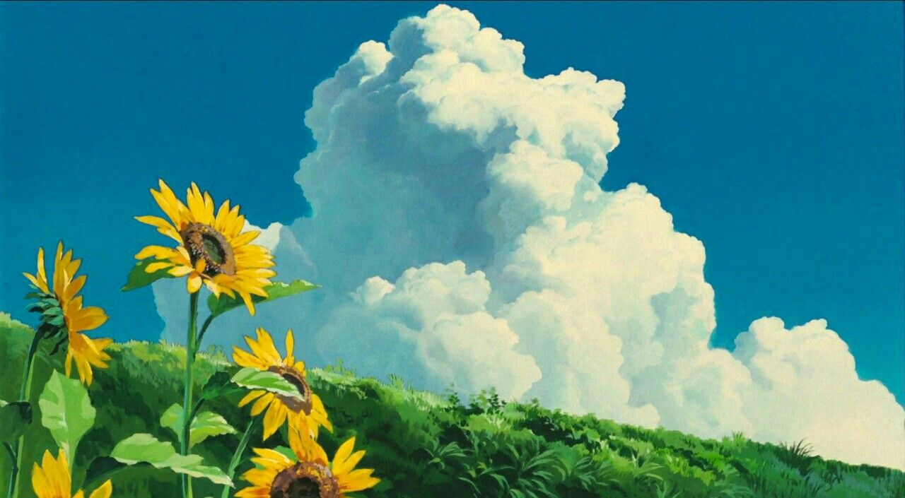 Sky Clouds Field Flowers Anime Scenery Wallpaper Studio Ghibli Ghibli Art