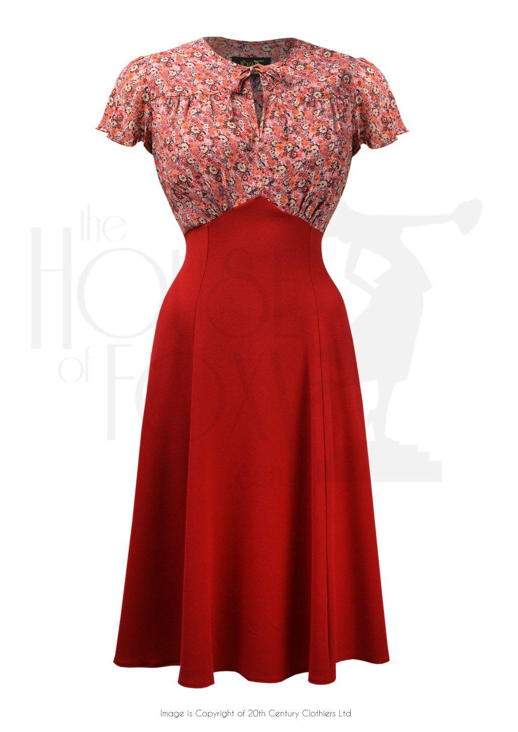 05137d89bcb 40s Grable Tea Dress - Red Ditsy. 1940s Style Grable Tea Swing Dance ...