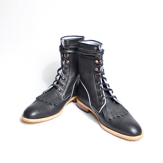 vintage inpired black lace up boots romper style by goodbyefolk, $260.00