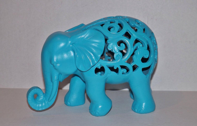 Elephant Turquoise Blue Elephant Statue Figurine Modern Home Decor Animal Decor