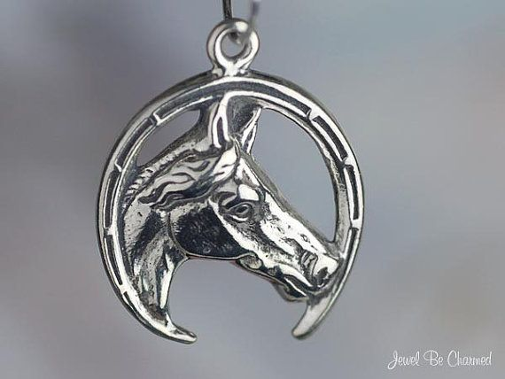 Good Luck Horse in Horseshoe Charm Sterling by jewelbecharmed